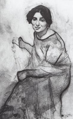 Valentin Aleksandrovich Serov. Portrait of the pianist Wanda Landowska