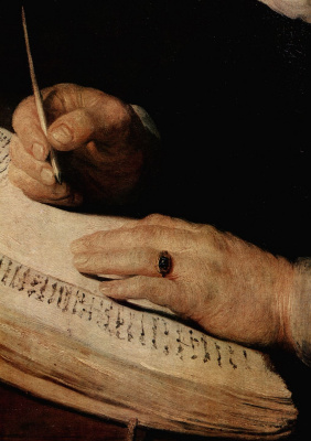 "Rembrandt Harmenszoon van Rijn. Fragment of ""Portrait of a scientist"""