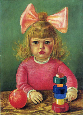 Otto Dix. Portrait of little girl with bow