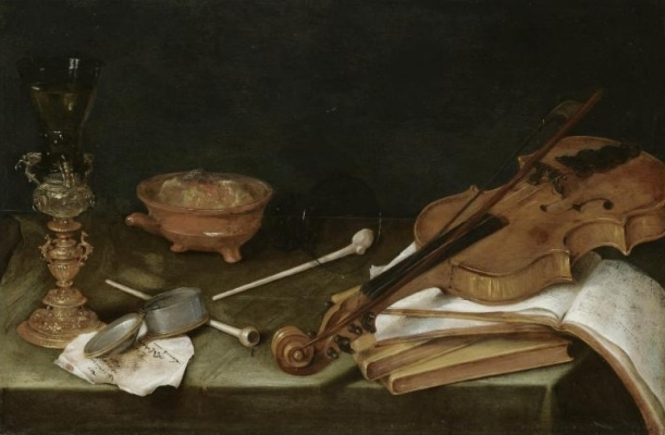 Peter Class. Still life with a brazier, pipe, violin and books