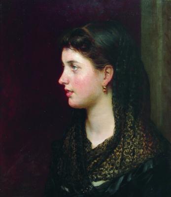 Nikolay Aleksandrovich Yaroshenko. Portrait of a lady in a lace cape.