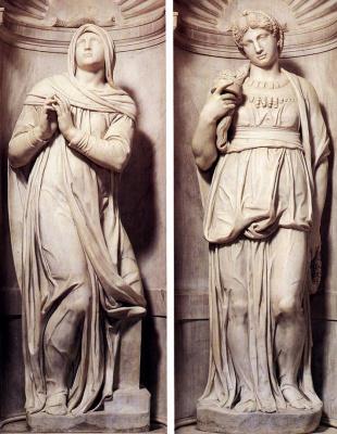Микеланджело Буонарроти. Гробница папы Юлия II. Рахиль и Лия (фрагменты)
