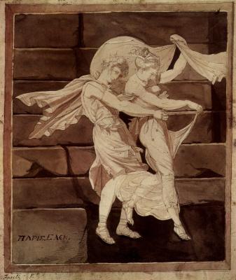 Johann Heinrich Fuessli. Aphrodite leads Paris to Menelaus