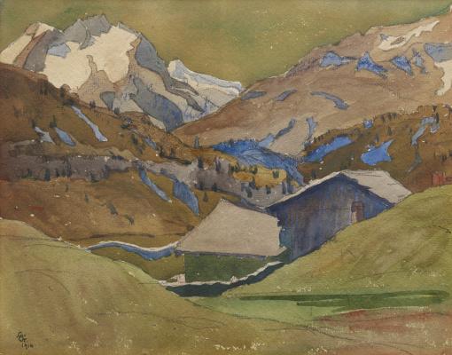Giovanni Giacometti. Mountain landscape with a village, Switzerland