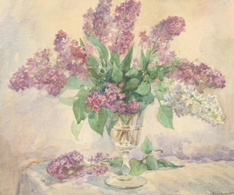 "Olga Konstantinovna Deineko. Watercolor ""Lilac"" 1950's"
