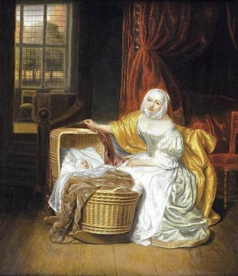 Самюэл ван Хогстратен. Мать и младенец в плетеной колыбели