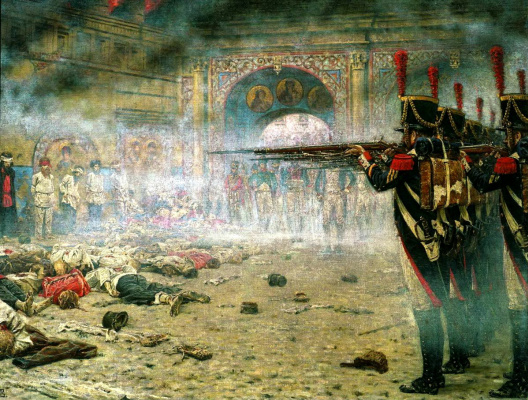"Vasily Vasilyevich Vereshchagin. In a conquered Moscow (""the Arsonists or Shooting in the Kremlin"")"