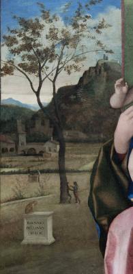 Джованни Беллини. Мадонна с младенцем (Мадонна Брера). Фрагмент пейзажа