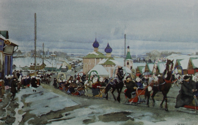 Konstantin Fedorovich Yuon. The skating carnival. Early 1900s