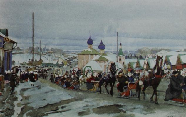 Константин Федорович Юон. Катание на масленицу. Начало 1900-х