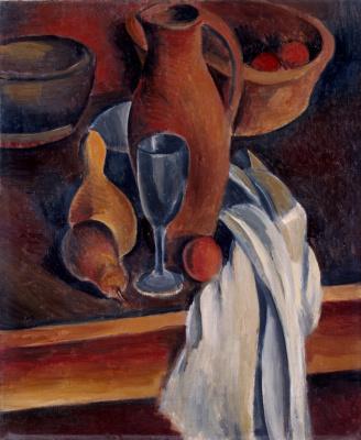 Andre Derain. Still life. Crock, white napkin and fruit
