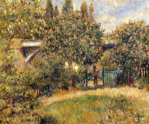 Pierre-Auguste Renoir. Railway bridge at Chatou (the Pink chestnut trees)