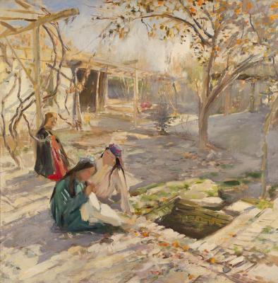 Pavel Petrovich Benkov. Girls playing in the yard. Samarkand