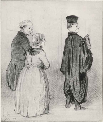 """Honore Daumier. The pride of his parents: """"at home And wear their official dress."""""""