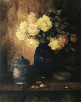 Still life with yellow roses.