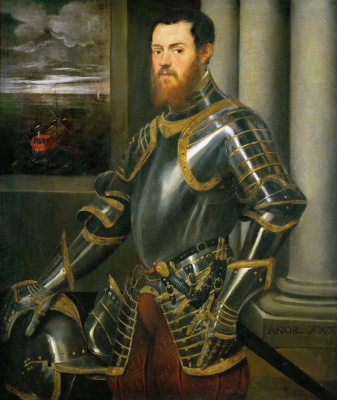 Jacopo (Robusti) Tintoretto. Portrait of an unknown man in armor