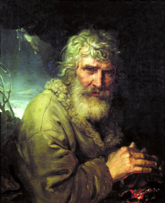 The allegorical image of winter in the form of an old man, warming his hands by the fire