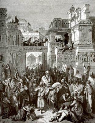 Paul Gustave Dore. Illustration to the Bible: the triumph of Mordecai
