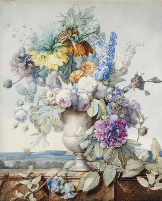 Pierre-Joseph Redoute. A bouquet of flowers in a plaster vase in the background of the landscape