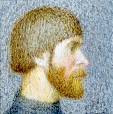 Alexander Leonidovich Mukhin-Cheboksary. Self portrait in profile (miniature)
