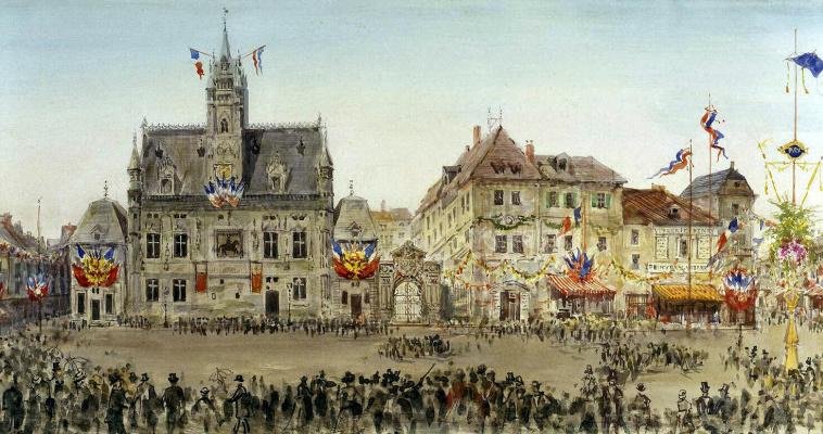 Павел Яковлевич Пясецкий. Кортеж императора на ратушной площади в Компьене