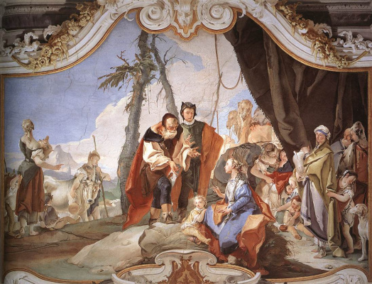 Giovanni Battista Tiepolo. Hiding the idols from her father Laban