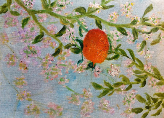 "Rita Arkadievna Beckman. Triptych ""The Last Mandarin"". Mandarin and almond blossoms"