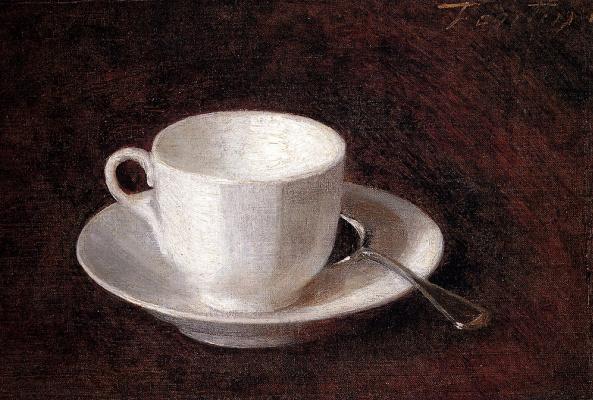 Анри Фантен-Латур. Белая чашка с блюдцем