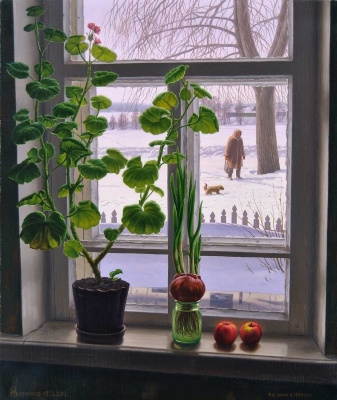 Alexander Vasilyevich Zoryukov. Geranium on my window
