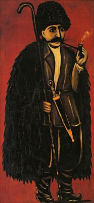 Нико Пиросмани (Пиросманашвили). Пастух в бурке на красном фоне