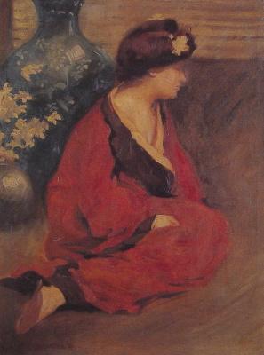 Уильям Чадвик. Сидящая женщина в красном