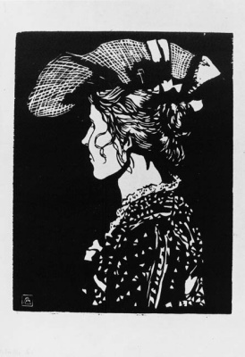 Fritz Bleuil. Portrait of Gertrude Tanner in the hat