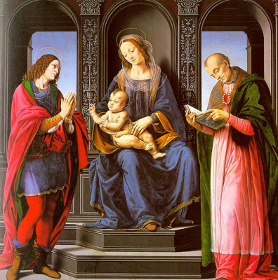 Lorenzo di Credi. Madonna and child with St. Julian and St. Nicholas of Myra