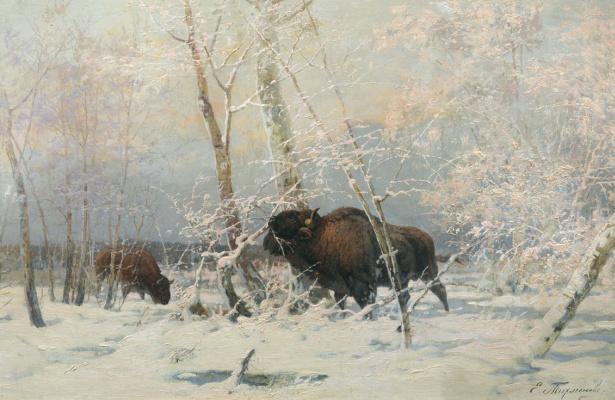 Eugene Alexandrovich Tikhmenev. Bison in the winter forest. 1900s