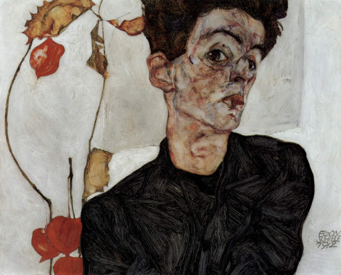 Egon Schiele. Self-portrait with Physalis