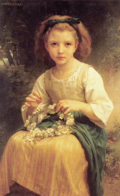 William-Adolphe Bouguereau. Child weaves a wreath