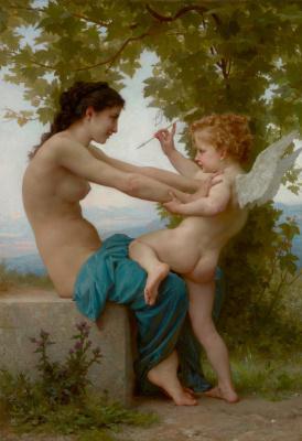 Адольф Бугро Вильям. Девушка сопротивляется Амуру. 1880