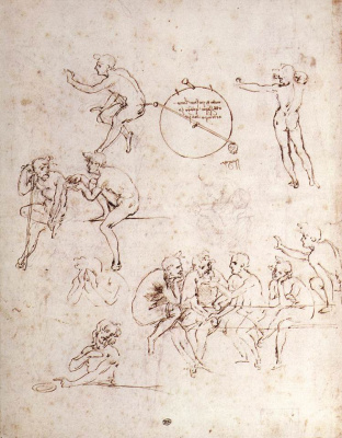 Leonardo da Vinci. Sketches of various figures