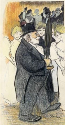 Theophile-Alexander Steinlen. Gentleman with umbrella