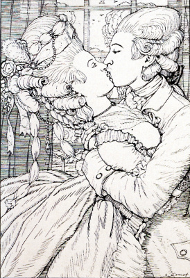 """Constantin Somov. Kiss. Illustration for """"book of the Marquise"""""""