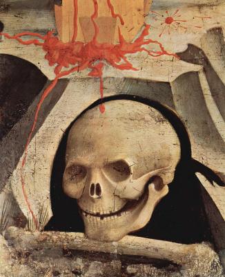 Фра Беато Анджелико. Распятие со св. Николаем и св. Франциском. Фрагмент: череп Адама на Голгофе