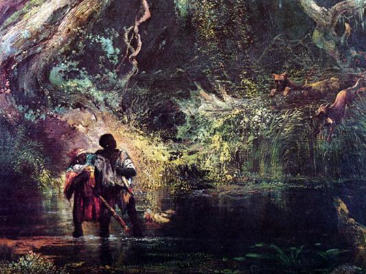 Томас Моран. Рабы, бегущие через болото