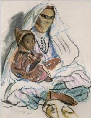 Zinaida Serebryakova. A Moroccan woman in a veil with child