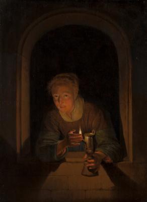 Геррит (Герард) Доу. Молодая женщина с лампой