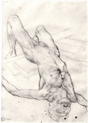 """Théodore Géricault. Sketch for the painting """"The Raft of Medusa"""". Lying naked"""