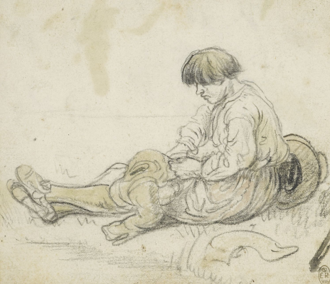 Hendrik Avercamp. Seated peasant