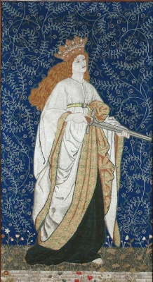 """William Morris. Left panel of the triptych screen based on Chaucer's """"The Legend of Beautiful Women"""""""