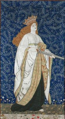 """Уильям Моррис. Левая  панель ширмы-триптиха по мотивам Чосера """"Легенда о прекрасных женщинах"""""""