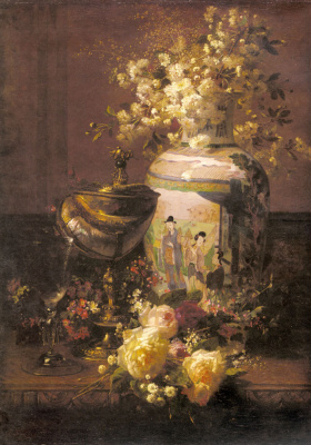 Jean-Baptiste Robey. Still life with Japanese vase and flowers