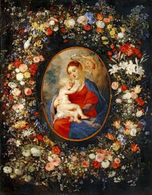 Питер Пауль Рубенс. Мадонна с Младенцем в цветочной гирлянде